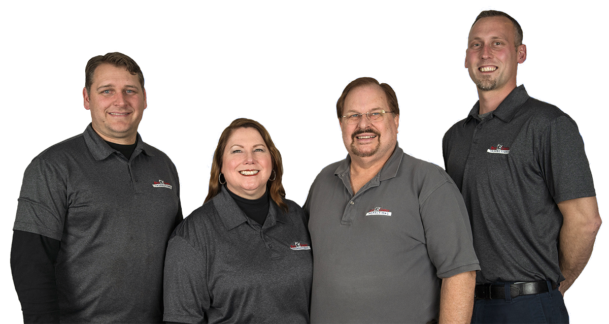 The Best Choice Inspections Team: Jon (Master Inspector), Jayme (Co-Owner and Office Manager), Gene (Co-Owner and Master Inspector), and Tanner (InterNACHI Inspector)